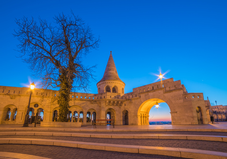 halaszbastya: Fishermans Bastion in Budapest, Hungary Illuminated at Night and Clear Blue Sky Stock Photo