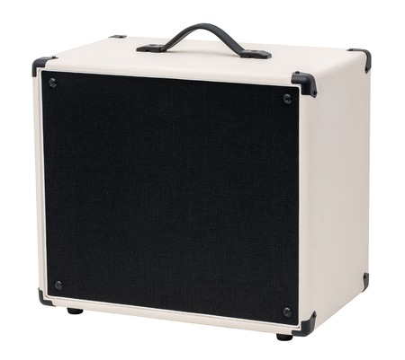 guitar amplifier: Black and White Guitar Amplifier. Isolated on White Background. Stock Photo
