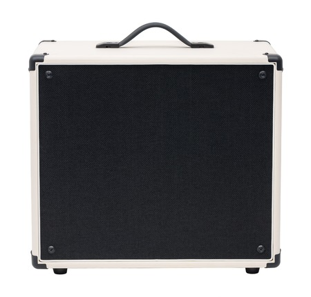 amp: Black and White Guitar Amplifier Front View. Isolated on White Background