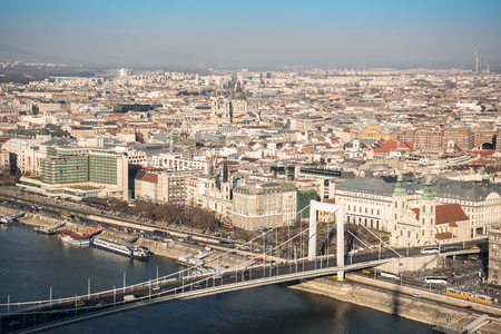 elisabeth: Aerial View of Budapest and the Danube River with Elisabeth Bridge as Seen from Gellert Hill Lookout Point