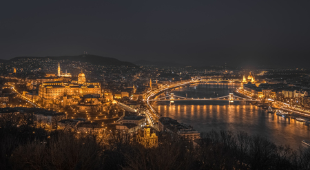 street lights: Panoramic View of Budapest with Street Lights and the Danube River at Night as Seen from Gellert Hill Lookout Point