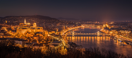 street lights: Panoramic View of Budapest with Street Lights and the Danube River at Twilight as Seen from Gellert Hill Lookout Point
