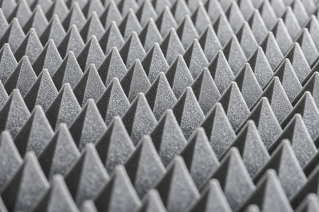 acoustical: Close up of Sound Absorbing Sponge in Recording Studio. Dampening Acoustical Foam in Music Studio. Acoustic Foam Detail.