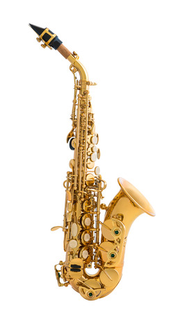 wind instrument: Golden Saxophone. Classical Music Wind Instrument Isolated on White Background