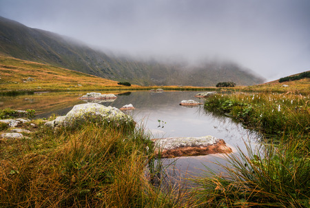 tarn: Small Tarn with Rocks in Foggy West Tatra Mountains in the Evening