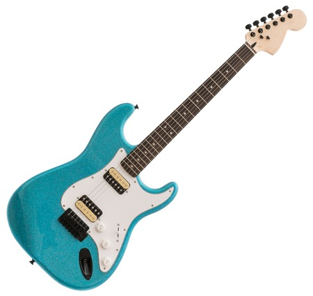 Blue Electric Guitar Isolated on White Background Stock Photo