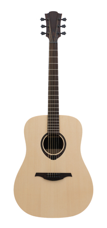 Wooden Classical Acoustic Guitar Isolated on a White Background Stock Photo