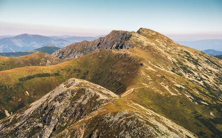 Low Tatras National Park Mountain Ridge. Way to Mount Dumbier. Stock Photo