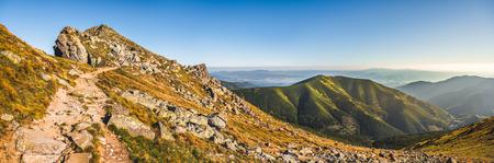 Rocky Hiking Trail in the Mountains on Sunny Day. Low Tatras Ridge, Slovakia. Stock Photo
