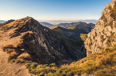 Mountain Landscape in Light of Setting Sun. View from Mount Dumbier in Low Tatras, Slova. West Tatras Mountains Background. Reklamní fotografie - 69447441