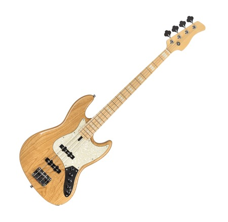 Wooden Electric Bass Guitar Isolated on White Background Stock Photo
