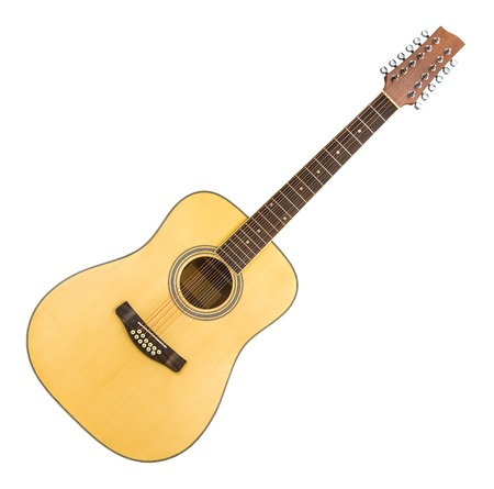 12 String Acoustic Guitar Isolated on a White Background Stock Photo