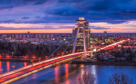 Cityscape of Bratislava, Slovakia with New Bridge over Danube River at Sunrise