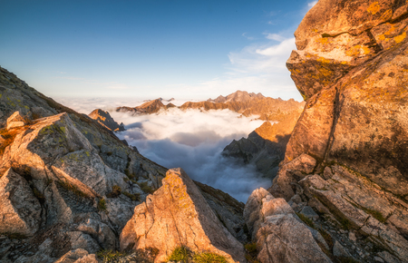 Mountains with Inversion at Sunset as seen From Rysy Peak in High Tatras, Slovakia