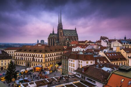Old Town with Christmas Market and Cathedral of St. Peter and Paul in Brno, Czech Republic as Seen from City Hall Tower Stock Photo