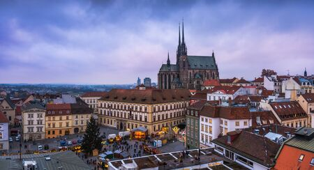 Old Town with Christmas Market and Cathedral of St. Peter and Paul in Brno, Czech Republic as Seen from City Hall Tower