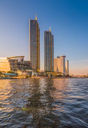 Tall Buildings on the Chao Phraya River Bank, Bangkok, Thailand