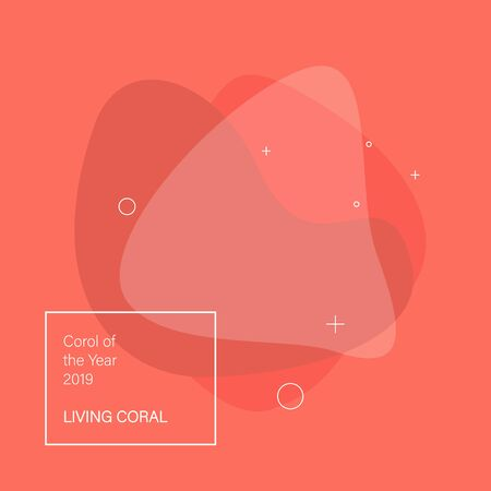 Abstract background. Color of the year 2019 Living Coral. Flat geometric shape with various colors. 向量圖像