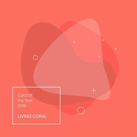Abstracte achtergrond. Kleur van het jaar 2019 Living Coral. Platte geometrische vorm met verschillende kleuren. Vector Illustratie