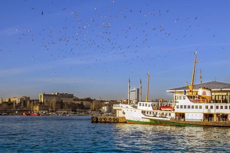 Istanbul, Turkey, 04 March 2008: Ferry and seagulls at sunny day.