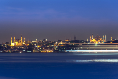 Istanbul, Turkey, 11June 2007: Night view of Hagia Sophia with ship trace
