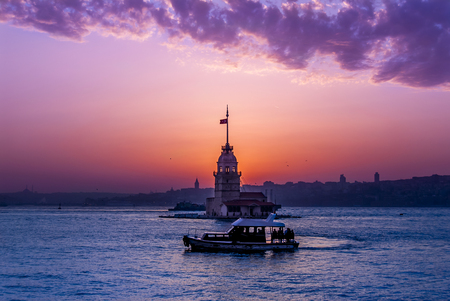 Istanbul, Turkey, 19 April 2006: The Maiden's Tower and boat