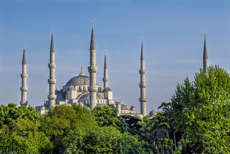 Istanbul, Turkey, 30 April 2008: Minarets of the Sultan Ahmed Mosque. Archivio Fotografico