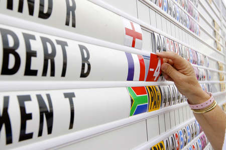 scoring: Women places a new score on the golf scoring board during a official european tour event