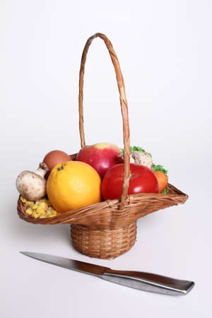 vegtables: Basket of vegtables and fruit Stock Photo