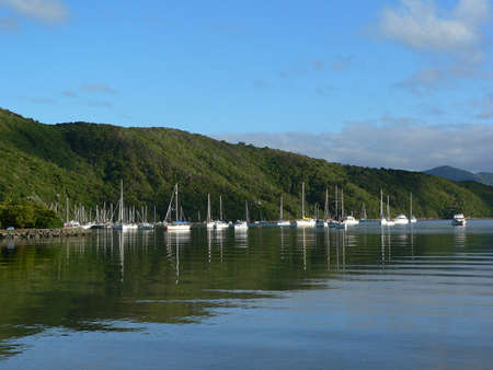 marlborough: Boats moored on water in Marlborough Sounds New Zealand Stock Photo