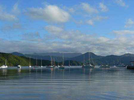 sounds: Boats moored on water in Marlborough Sounds New Zealand Stock Photo