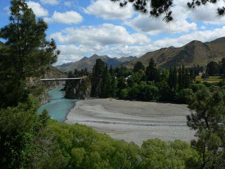 River bend near Hanmer, New Zealand Standard-Bild