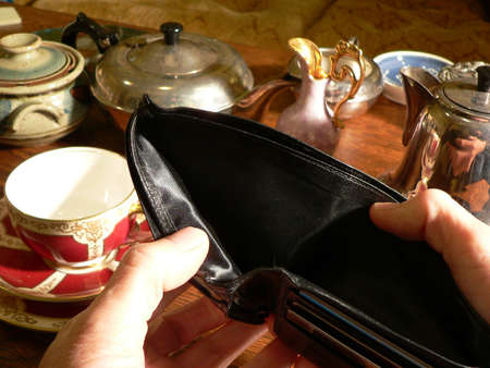 moneyless: Empty wallet with no money to pay for cafe