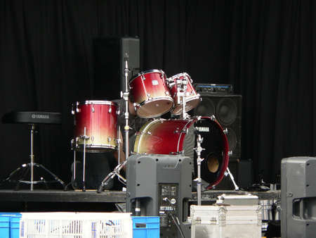 Drums and cymbals on stage