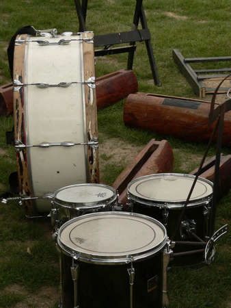 Drums waiting to be put on stage