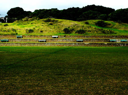 Seats overlooking a sports field
