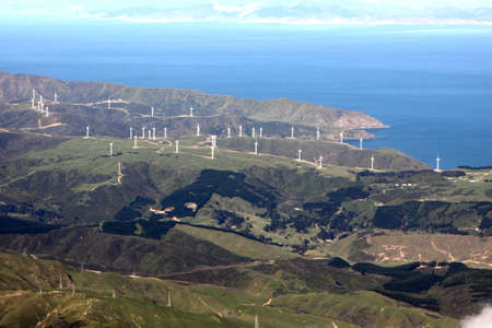 Wind turbines on hillside Wellington New Zealand photo