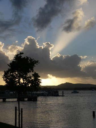 Rays of sun through cloud
