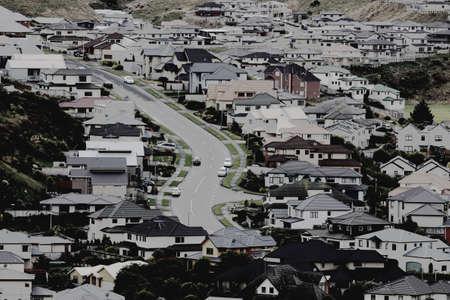 Suburban scene with s-shaped street Standard-Bild