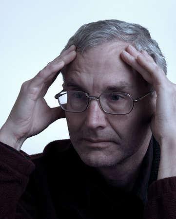 Older person showing bored emotion