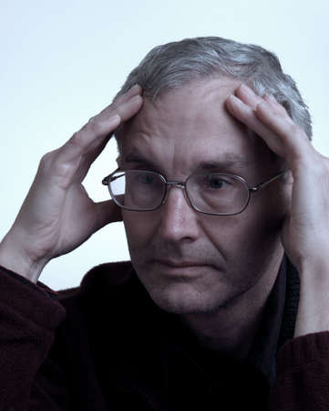 Older person showing bored emotion photo