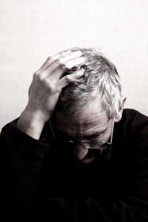 depress: Older person showing frsutratedemotion