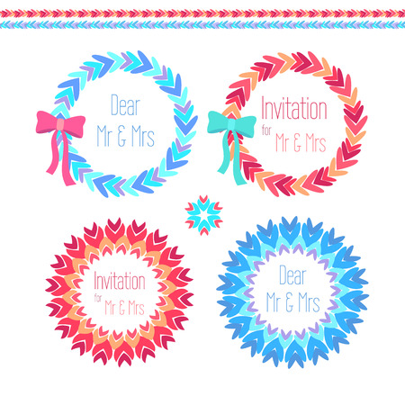 wreath set: vector wreath set with ornamental elements  in blue and pink colores