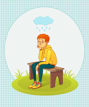 sotto la pioggia: illustrazione vettoriale  triste uomo seduto su una panchina sotto la pioggia