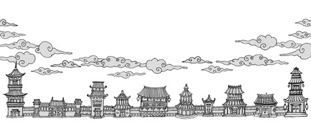 east: vector bannerheader with traditional east asian town