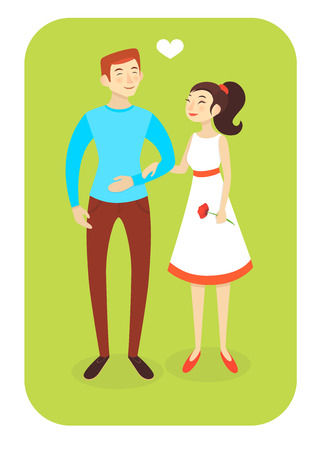 caucasian man: Vector illustration eps10 caucasian man and asian woman in love Illustration