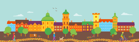panorama view: Vector panorama Old town view. Good for footer or header Illustration