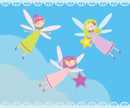 fairy costume: Vector illustration with many fairies flying