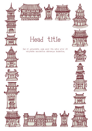 Vector template with hand drawn asian temples and manor houses Illustration