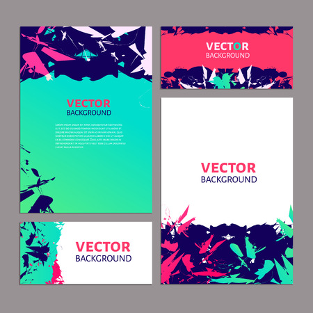 luminescent: Set of vector abstract inkblot test luminescent templates for modern design Illustration